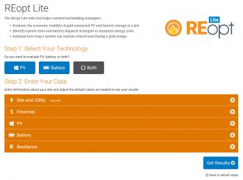A screenshot of the REopt Lite web tool.