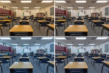 Four photos of a classroom with different tunable light settings.