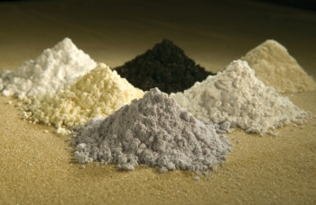 Rare-earth oxides of gadolinium, praseodymium, cerium, samarium, lanthanum, and neodymium. Photo by Peggy Greb.