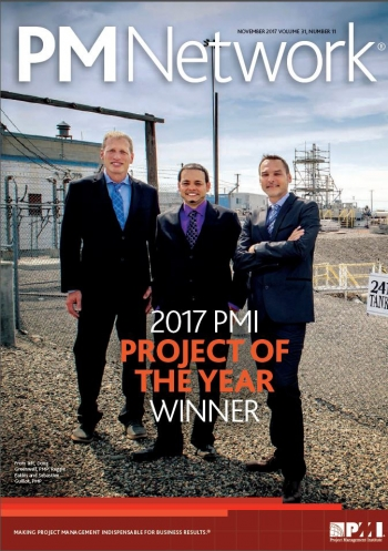 The project team was led by, from left, Doug Greenwell with Hanford tank farms contractor Washington River Protection Solutions (WRPS), Reggie Eakins Jr. of the EM Office of River Protection, and Sebastien Guillot, WRPS.