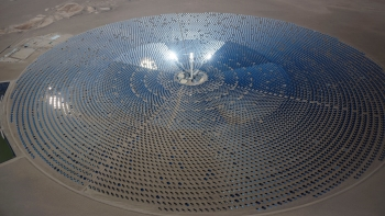 Aerial photo of a concentrating solar power plant