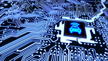 A circuit board and wifi chip illustrate the concept of a connected vehicle. Photo from iStock 653513498