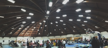 STEM activities were hosted in the Diné College gymnasium.