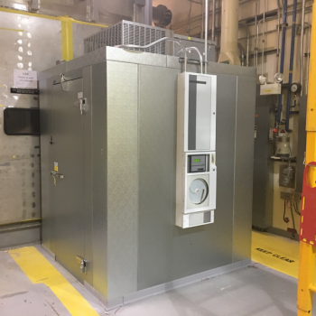 Prior to the treatment, workers installed a refrigeration unit to help ensure the RNS drums remained cool at WCRRF.