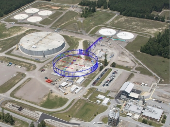 EM approved the start of site preparation for the next mega-volume Saltstone Disposal Unit (SDU) at Savannah River Site, marked in blue. SDU 6 is at left.