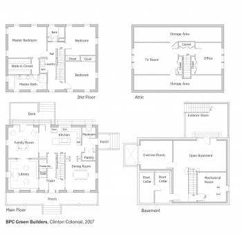 Floorplans for Clinton Colonial by BPC Green Builders.