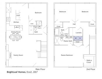 Floorplans for Eco2 by BrightLeaf Homes.