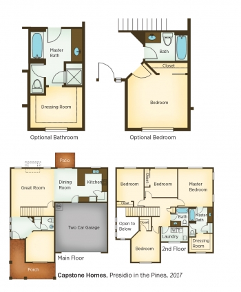 Floorplans for Presidio in the Pines by Capstone Homes.