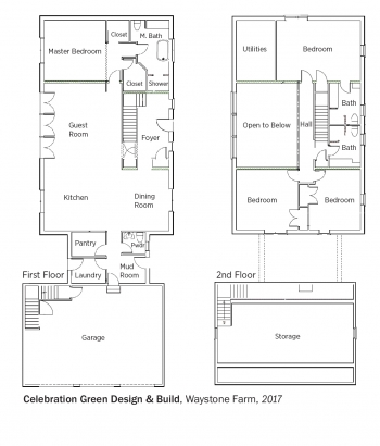 Floorplans for WayStone Farm by Celebration Green Design and Build.