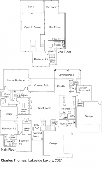 Floorplans for Lakeside Luxury by Charles Thomas Homes.