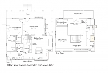 Floorplans for Anacortes Craftsman by Clifton View Homes.