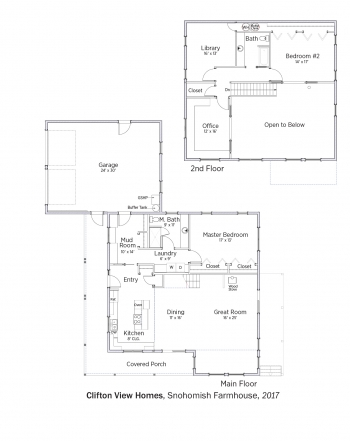 Floorplans for Snohomish Farmhouse by Clifton View Homes.
