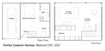 Floorplans for Malone Cliff by Ferrier Custom Homes.