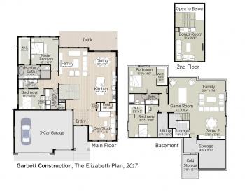 Floorplans for The Elizabeth Plan by Garbett Construction.
