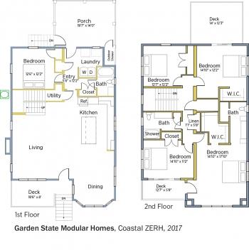 Floorplans for Coastal ZERH by Garden State Modular Homes.