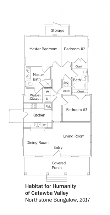 Floorplans for Northstone Bungalow by Habitat for Humanity of Catawba Valley.