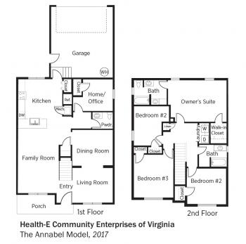 Floorplans for The Annabel Model by Health-E Community Enterprises of Virginia.