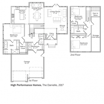 Floorplans for The Danielle by High Performance Homes.