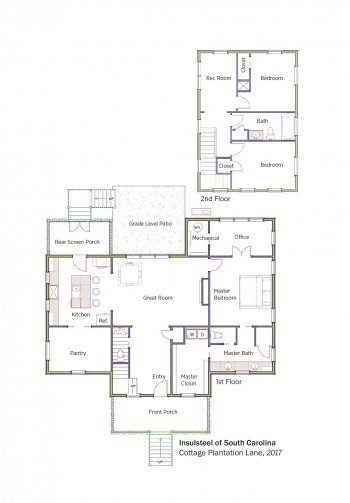 Floorplans for Cottage Plantation Lane by Insulsteel Building Enclosures.