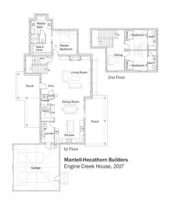 Floorplans for Engine Creek House by Mantell-Hecathorn Builders.