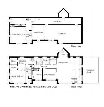 Floorplans for Hillsdale House by Passive House by Steven Bluestone.