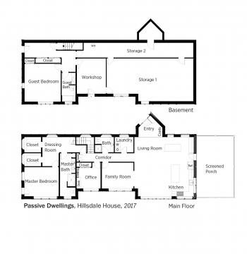 Floorplans for Hillsdale House by Passive House by Steven Bluestone.