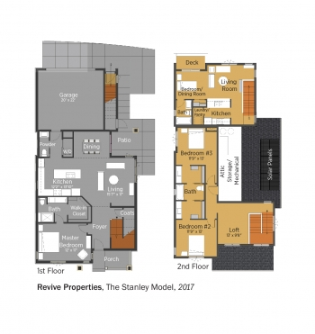 Floorplans for Revive, The Stanley Model by Philgreen Construction.