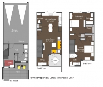 Floorplans for Revive Lotus Townhome by Philgreen Construction.