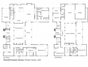Floorplans for Preston Haven by Thornhill Custom Homes.