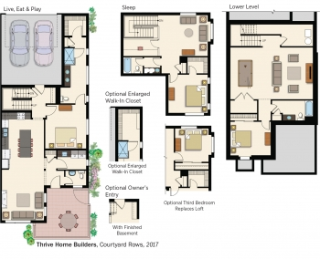 Floorplans for Courtyard Rows by Thrive Home Builders.