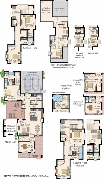 Floorplans for Lowry Plan by Thrive Home Builders.