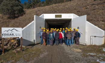 AUMWG representatives in front of the Edgar Experimental Mine.