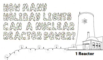 Photo a nuclear reactor with holiday lights coming out of the bottom of it.
