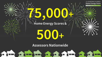 """Graphic of a skyline of houses with fireworks overhead and the words """"75,000+ Home Energy Scores and 500+ assessors nationwide."""""""
