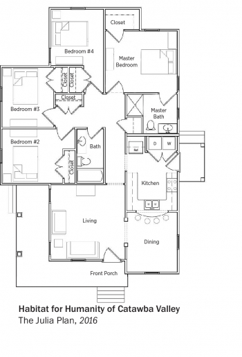 DOE Tour of Zero: The Julia Plan by Habitat for Humanity of Catawba Valley floorplans.