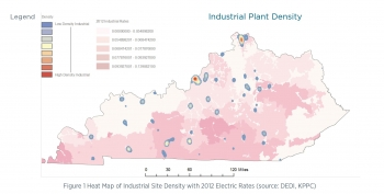 Heat Map of Industrial Site Density with 2012 Electric Rates