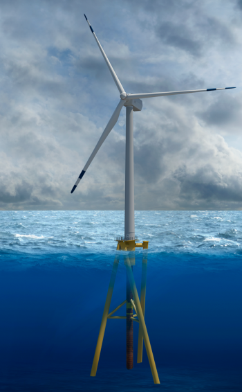Offshore wind turbine with Twisted Jacket.