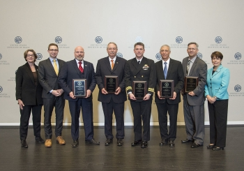 DOE officials presented a 2018 Federal Energy and Water Management Award to the U.S. Marine Corps Recruit Depot Parris Island team.