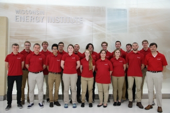 A group photo of the University of Wisconsin Collegiate Wind Competition team