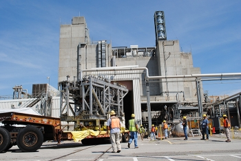 Melter 3 enters the Defense Waste Processing Facility in July 2017. It poured its first canister of vitrified high-level radioactive waste Dec. 29.