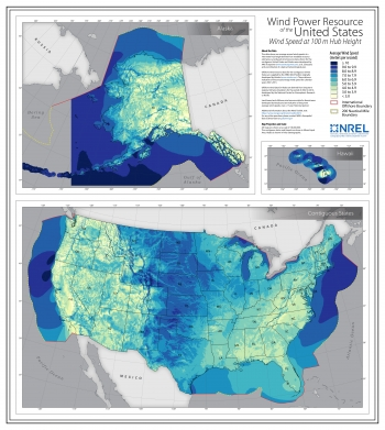 A map of the wind resources in the United States, including the high offshore wind resources