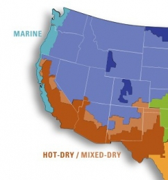 Map of the western United States with the marine and hot-dry / mixed-dry climate zones marked.
