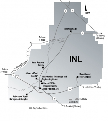 Map of the Department of Energy's Idaho Site
