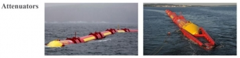 Two images of attenuators, long snake-like yellow and red devices, in open water.