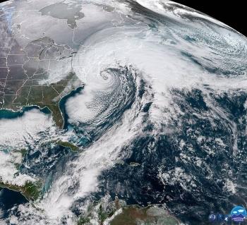 Satellite image of Bomb Cyclone striking the northeast