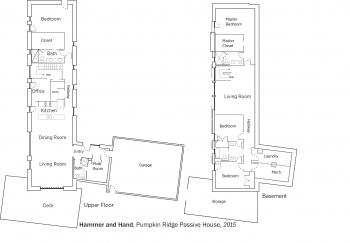 DOE Tour of Zero: Pumpkin Ridge Passive House by Hammer and Hand floorplans.