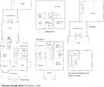 DOE Tour of Zero: Euclid Avenue by Heirloom Design Build floorplans.