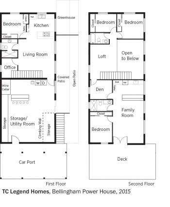 DOE Tour of Zero: Bellingham Power House by TC Legend Homes floorplans.
