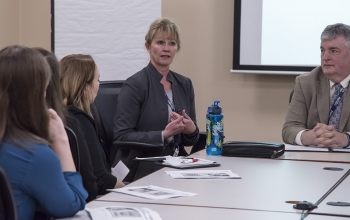 Dr. Navarro explains to Miami University students what she looks for in a new hire.