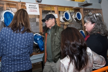 Energy Secretary Rick Perry observes a demonstration of equipment and training at the Plutonium Blend Down Mock Up Training Facility.